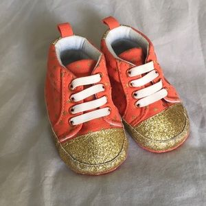 Baby Sneakers With Gold sparkles and Stars